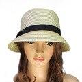 Beige de Moda Unisex de Fedora Del Sombrero Flexible del Gángster Cap Beach Summer Sun Paja Sombrero Panamá