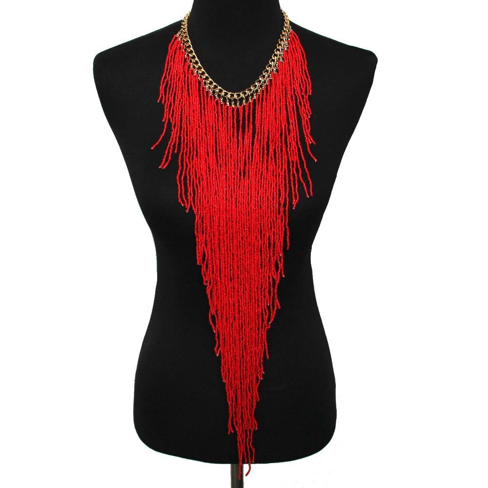 UKEN Bohemian Style Women Fashion Handmade Resin Bead Long Tassel Link Chain Charm Statement Choker Necklace Jewelry trendy bohemia style solid color link chain tassel necklace for women