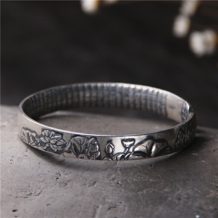 S925 Sterling Silver Retro Thai Silver Lotus Carved Heart Shaped Fashion Women Open Ended Bangle