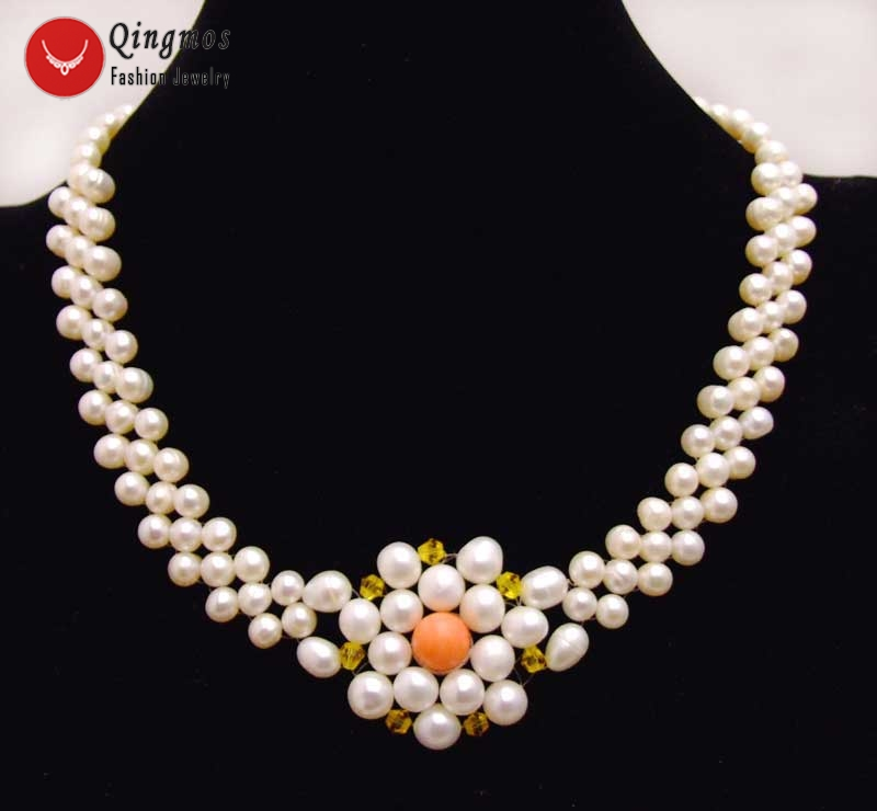 Qingmos 35-40mm Handwork Weaving Pearl Pendant Necklace for Women with 5mm White Pearl and Pink Coral 3 Strands Chokers Necklace