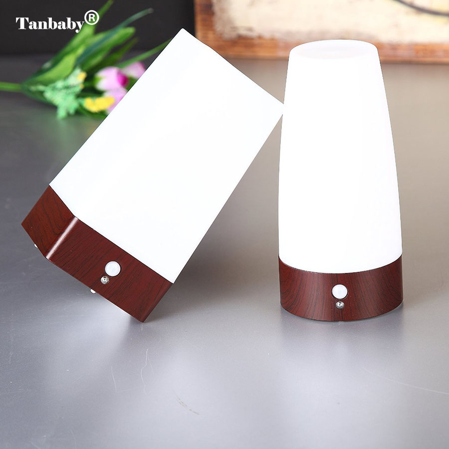 Tanbaby LED PIR Motion Sensor Atmosphere Table Lamp Night Light Portable Wireless Moving Battery-Operated Desk Lamp for Bedroom 1x led night light lamps motion sensor nightlight pir intelligent led human body motion induction lamp energy saving lighting
