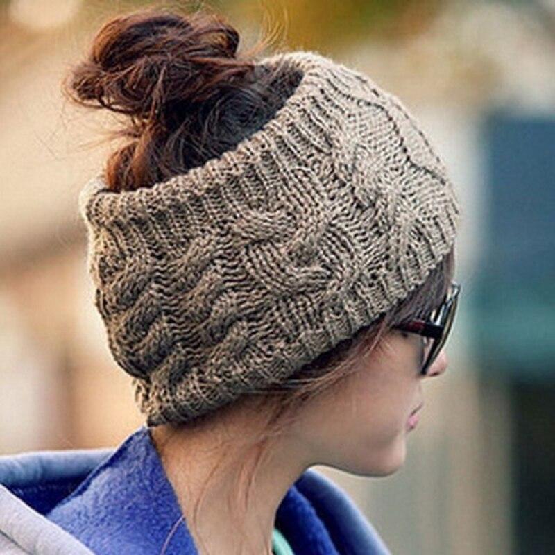 Fashion Women Skullies Beanies Twisted Knitted Yarn Head Wrap Women's Winter Knitted Empty Hat Hair Wrap Headwear Female