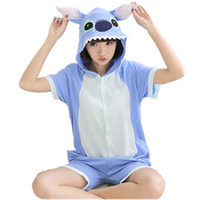 Anime Lilo Stitch Cosplay Costume Summer Jumpsuit Short Sleeve Cartoon Animal Pajamas Pyjamas Onesie For Adult