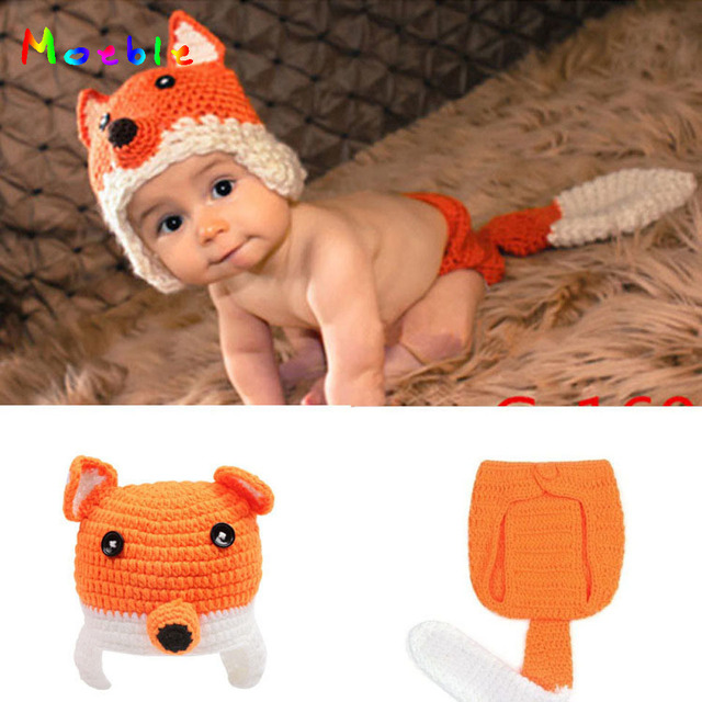 Lovely Fox Design Newborn Baby Photography Props Knitted Baby Animal Costume  Coming Home Outfits Baby Hat Diaper Set MZS-13054 b0b07accd079
