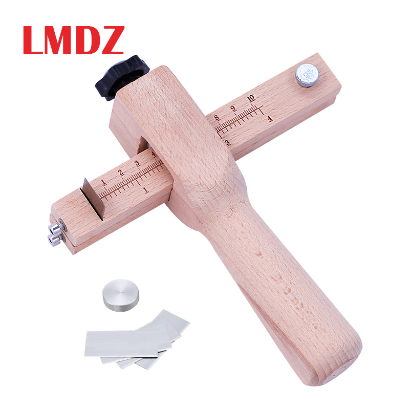 LMDZ Adjustable Wooden Strip And Strap Cutter Leather Craft Cutter Strap Belt DIY Hand Cutting Tools Strip Cutter With 5 Blades