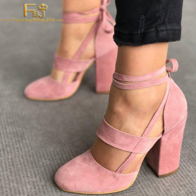 c552351d4ec Women s Soft Suede Chunky Heel Strappy Sandals Round Toe Cross-tied Retro  Shoes Pink Leisure Sexy Big Size 14 15 16 FSJ
