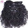 Необработанные Virgin Бразильский Реми Человеческие Волосы Туго Странный Вьющиеся Клип в Человеческих Волос 70 г ~ 120 г Клип Ins Weave Клип В волос