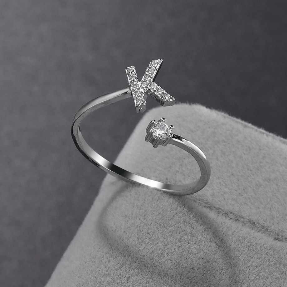 Romántico A-Z Metal dedo abierto cobre anillo inicial 26 letras anillos mujeres plata anillos boda Navidad amantes Diamante de imitación