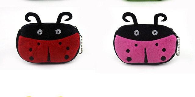 2colors Supe Novelty 12cm Rox Cartoon Ladybug Bag Plush Gift Coin Purse Wallet