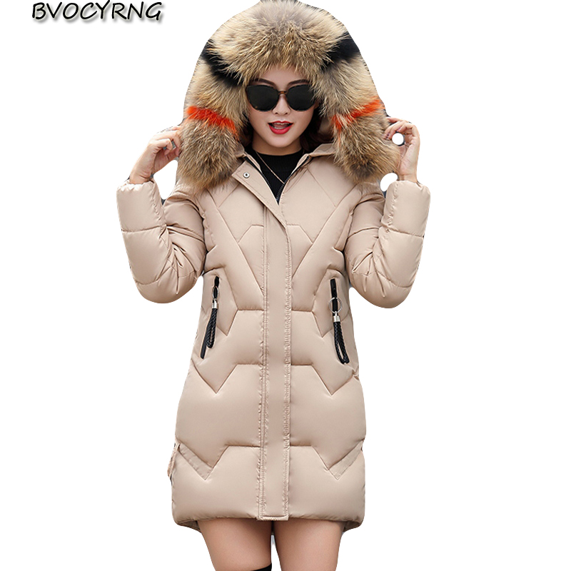 Manteau Épais Mode Coton Parkas Long 2018 khaki Black Taille red Grande caramel Veste Wine red Nouvelle Vêtements K0663 Femmes Élégant Colour Femme Capuche Mince D'hiver À milky qzwXqf