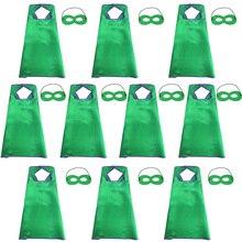 10 пачек Специальный Зеленый Атлас накидки и маски набор легкий костюм для детей день рождения игровой костюм для мальчиков Хэллоуин