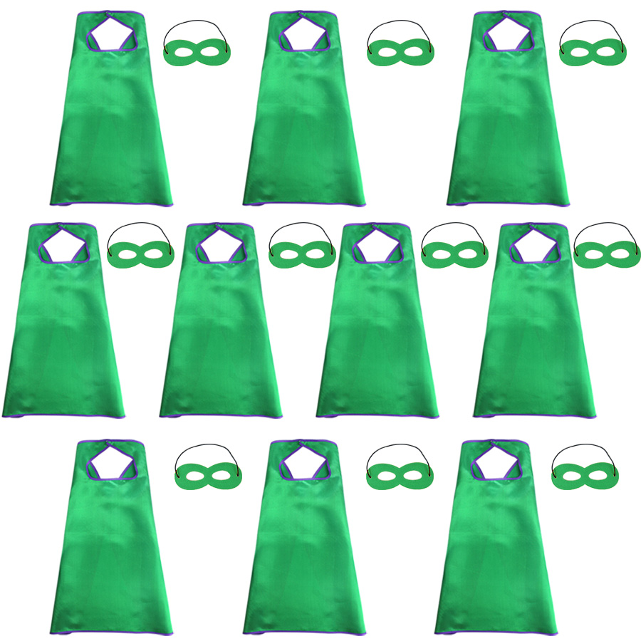 10 Packs Speciale Groene Satijnen Capes En Maskers Set Licht Kostuum Voor Kinderen Verjaardagsfeestje Speelgoed Kostuum Voor Jongens Halloween Rijk En Prachtig