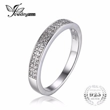 JewelryPalace Cubic Zirconia Anniversary Channel Set Wedding Band Eternity Ring 925 Sterling Silver Jewelry For Women Nice Gift