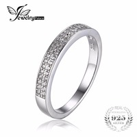 Dazzling Band Wedding Ring Cubic Zirconia Genuine 925 Sterling Silver Classic Ring Fine Jewelry For Women