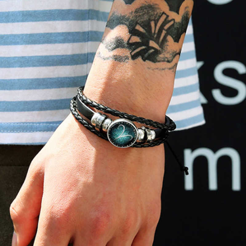 12 Constellation Luminous Bracelet Men Leather Bracelet Charm Bracelets for Men Boys Women Girl Jewelry Accessories Trinket Gift