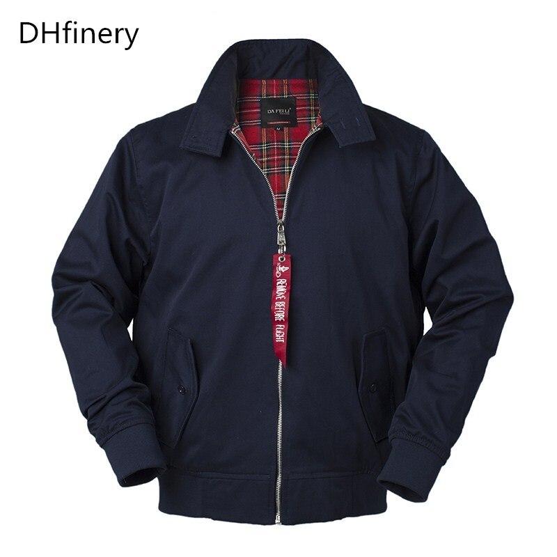 DHfinery Autumn Europe And British Style Men Bomber Jacket Black Blue Classic Loose BF Couple Jacket European Size: Xs-2XL FL69