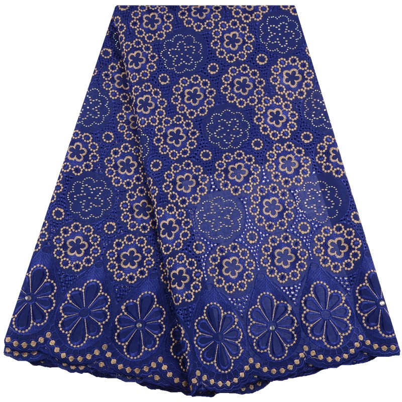 African Royal Blue Swiss Voile Lace Fabric High Quality Swiss Voile Lace In Switzerland African 100