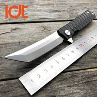 LDT Twosun Tanto Folding Knife D2 Blade Steel Handle Tactical Knives Camping Survival Hunting Pocket Flipper