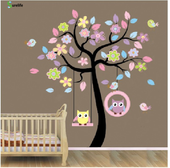 New Owl Bird Swing tree Wall Stickers Tree wall decals cartoon Home Decor for kids rooms ...