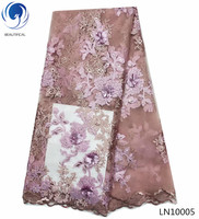 BEAUTIFICAL 3d lace fabric 2018 high quality lace 3d lace flower aplique african lace fashion 3d mesh fabric with beads LN100