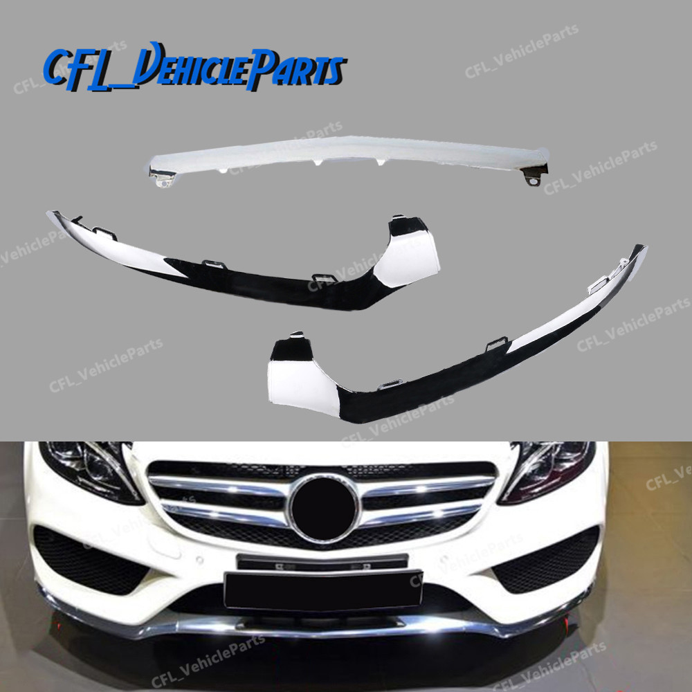Left Center Right Front Bumper Lower Chrome Molding Trim 2058851374 2058851474 2058851574 For <font><b>Mercedes</b></font> W205 <font><b>C300</b></font> C450 C220 C180 image