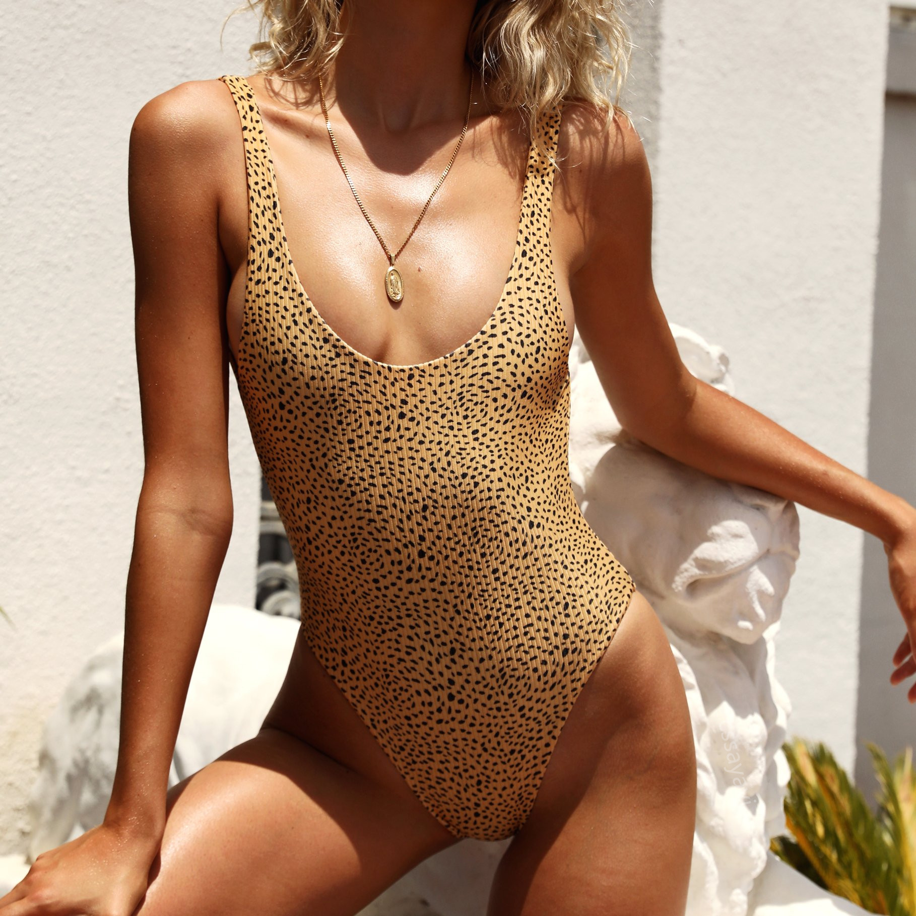 Swimsuit <font><b>Bikini</b></font> Sexy Leopard Swimsuit Women Swim Suit Women Swimwear Monokini Deep V <font><b>Brazilian</b></font> Body Suit Female <font><b>Sex</b></font> Wholesale image