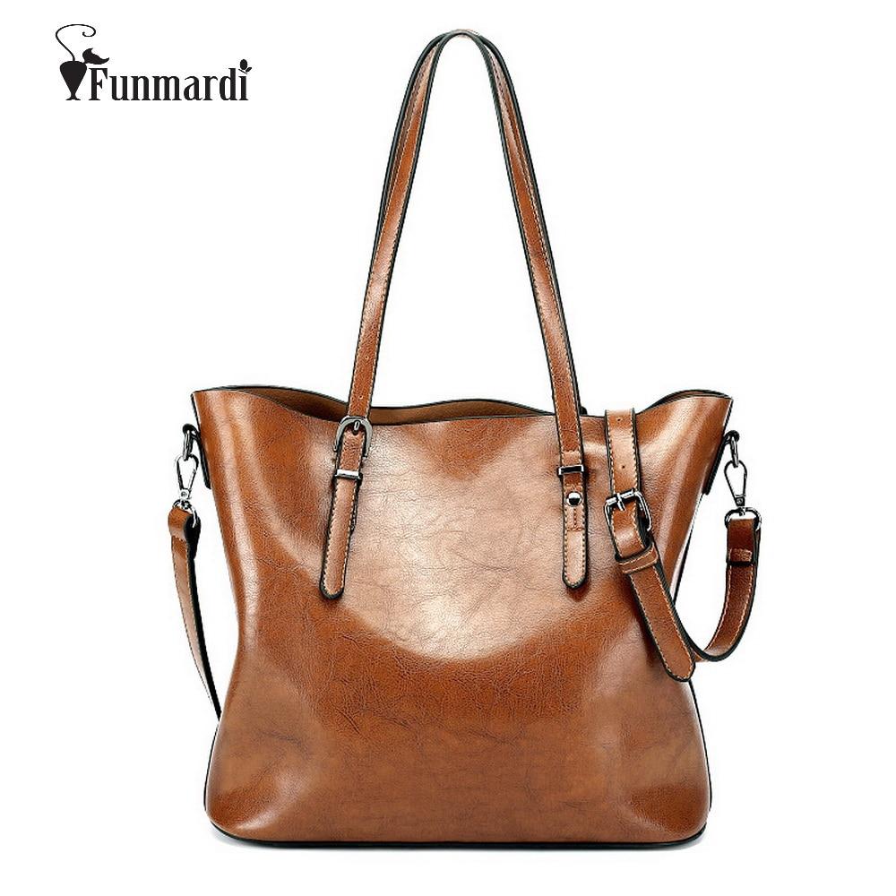 FUNMARDI Luxury Oil wax PU leather font b women b font font b handbags b font