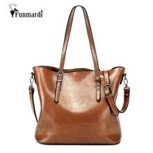 FUNMARDI cera de Aceite de cuero de LA PU de las mujeres bolsos de diseño de Marca de Moda de Lujo Bolsos de Las Mujeres Famosas bolsas de mano de alta capacidad WLHB1489