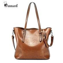 FUNMARDI Luxury Oil wax PU leather women handbags Fashion Brand design Women Bags Famous totes bags