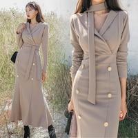 temperament over knee mature fashion women's fashion new spring dress 2019 women's big pendulum V tie button dress