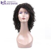 BEAUDIVA Curly Lace Front Human Hair Wigs For Black Women Brazilian Virgin Hair Natural Black Human Hair Wigs Free Shipping