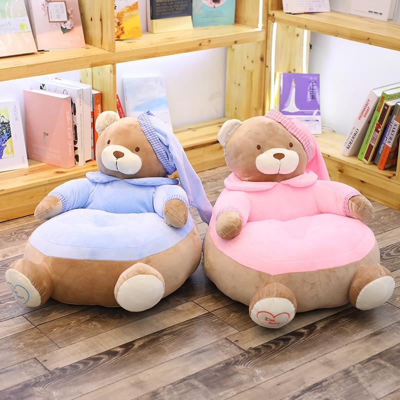 1 pc 45 cm * 45 cm * 55 cm mignon ours en peluche canapé chaise jouets en peluche sommeil confort oreiller coussin en peluche jouet bébé siège enfants cadeaux