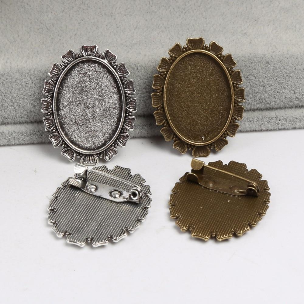 onwear 10pcs 18x25mm oval cabochon brooch base settings antique silver blank metal broche bezels diy brooches accessories недорго, оригинальная цена