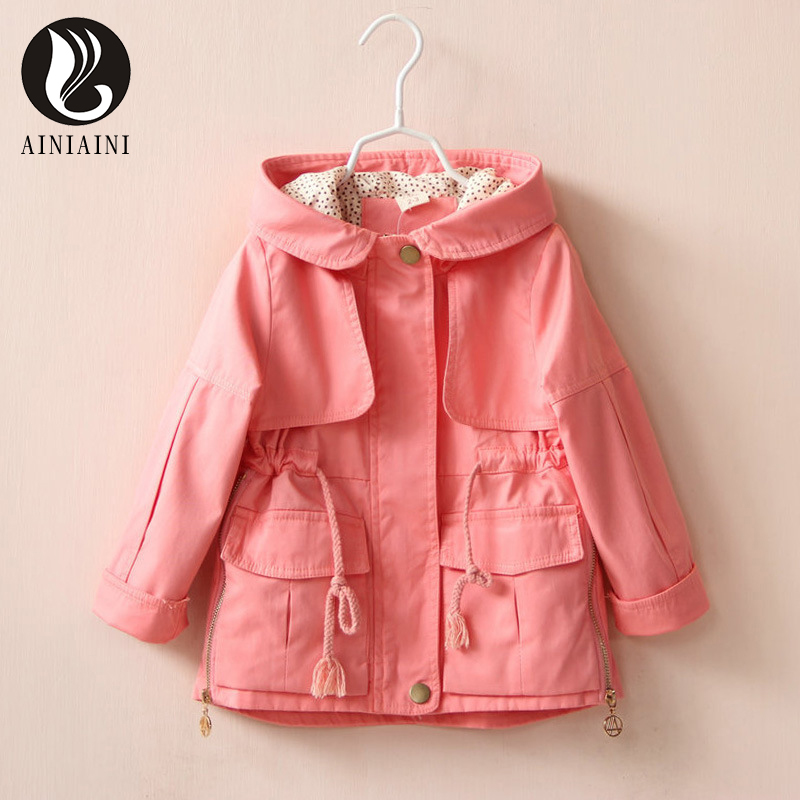 3 Color England Style Loose Children s Windbreaker Solid Color Turn Down Collar With Pocket Full