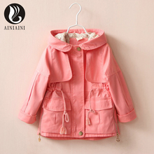 3 Color England Style Loose Children's Windbreaker Solid Color Turn-Down Collar With Pocket Full Girls Coat AB829