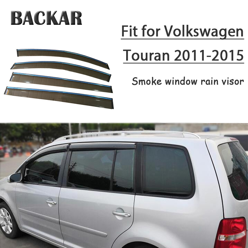 Backar 4pcs Auto Car Windows Rain Wind For Volkswagen VW Touran 2011 2012 2013 2014 2015 Sun Shield Deflector Visor Trim