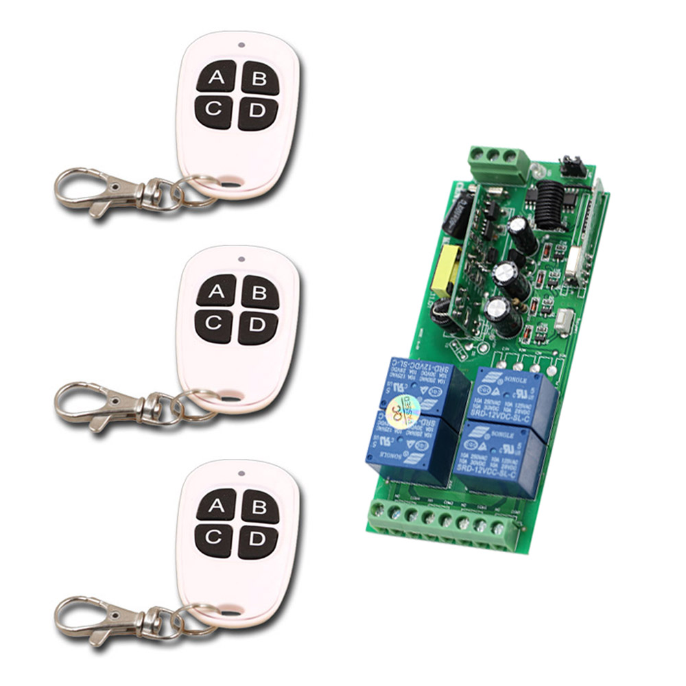 New Item AC85V ~250V RF Wireless Remote Control Switch 4CH Relay Radio Receiver & 3*Transmitter For Rolling Gate Electric Doors