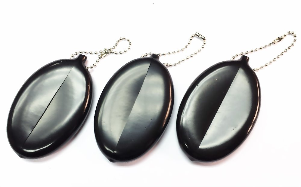 4 Pc Black Soft Rubber Squeeze Coin Holder Keychain Money