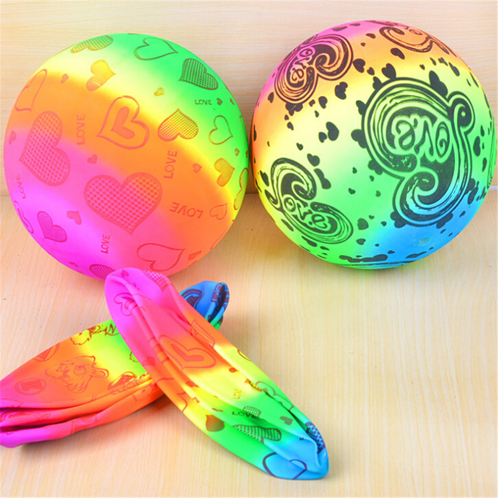 New Colored Rainbow Inflated Ball Balloons Football Toy Swimming Pool Outdoor Play Water Game Beach Toy For Kid Children image