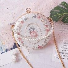 Angelatracy 2019 New Arrival Embroidery Floral Flower Pearl Chain Metal Frame Shell Circular Retro Shoulder Bag Crossbody Bags цены