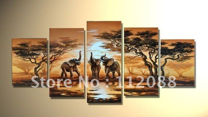 !100%hand-painted-wall-art-elephant-sun-home-decoration-Abstract-landscape-oil-painting-on-canvas-5pcs-set. - Hand made oil paintings store