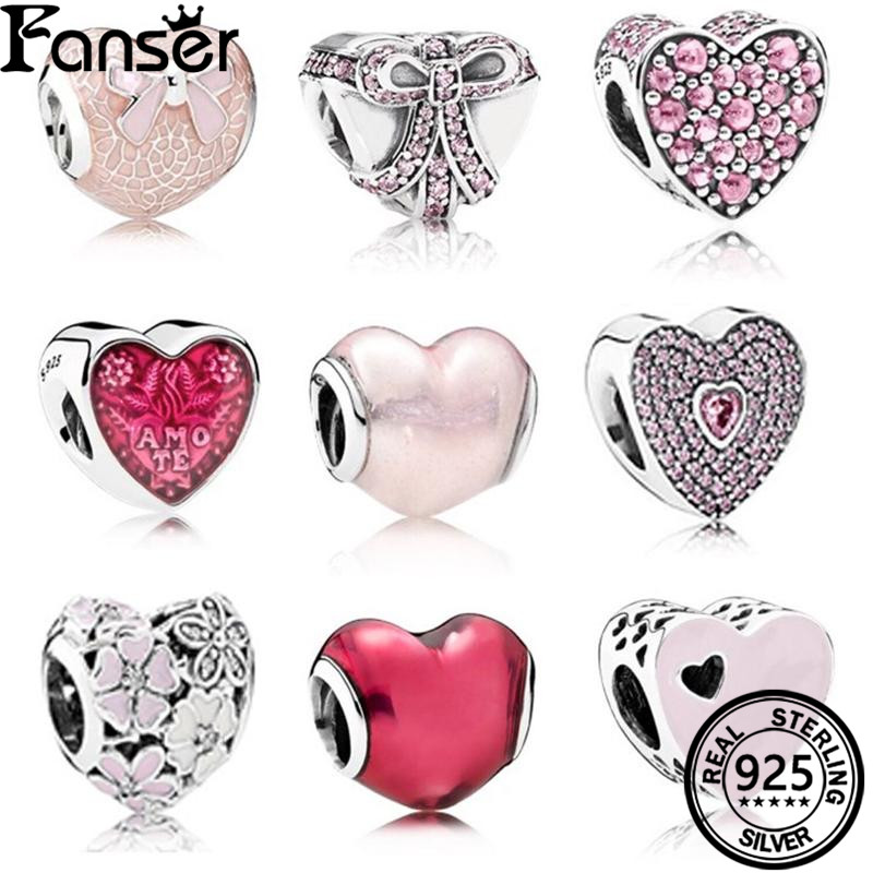 FANSER DIY Heart Bead PANDOR Series Spinel S925 Pure Silver Original Copy Has Logo & Suitable Beads Charm Women Jewelry