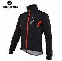 ROCKBROS Winter Cycling Jacket Fleece Long Sleeve Cycling Clothing Windproof Warm Mountain Road Bicycle Bike Outer