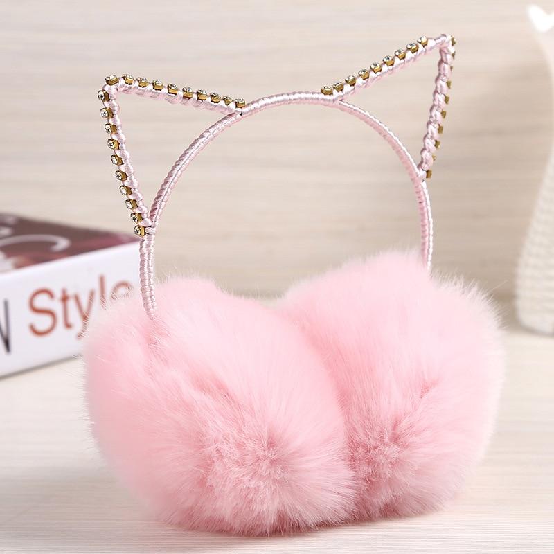 Lovely Cat Fur Winter Earmuffs Ear Cache Oreilles Warmers Comfort Warm for Women Girls