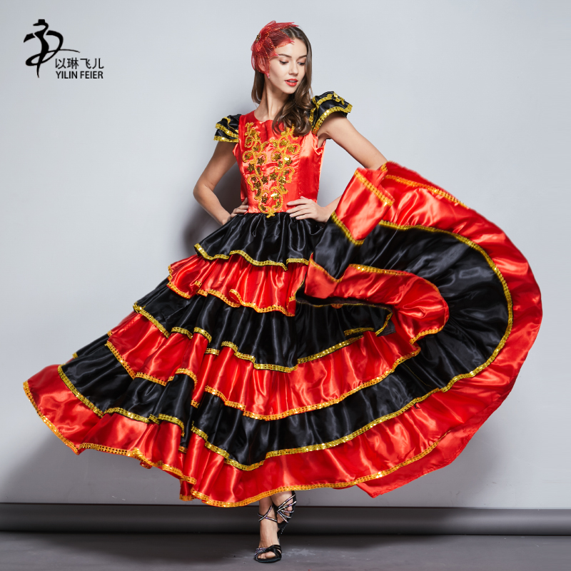 Adults Flamenco Dance Costumes Red Women Spanish Dress 360 Degrees Flamenco Skirt For Women Stage & Performance Wear