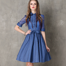 2017 Half Lace Sleeve Turn Down Collar Vintage Summer Dress Women High Waist Jeans Denim Dress With Sashes #170340