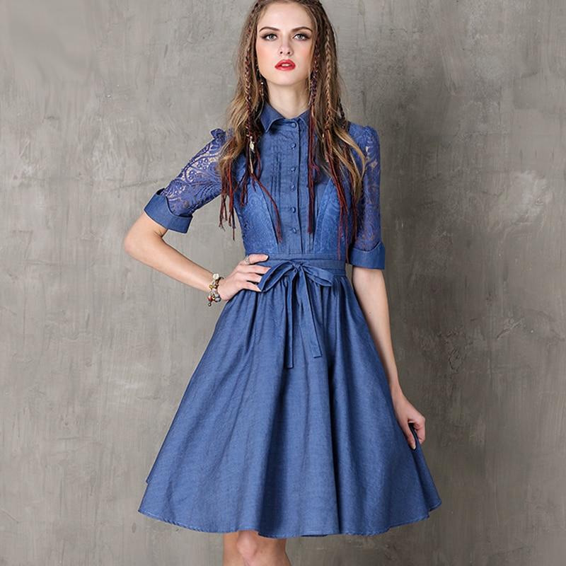 2019 demi dentelle manches col rabattu Vintage été robe femmes taille haute Jeans Denim robe avec ceintures #170340
