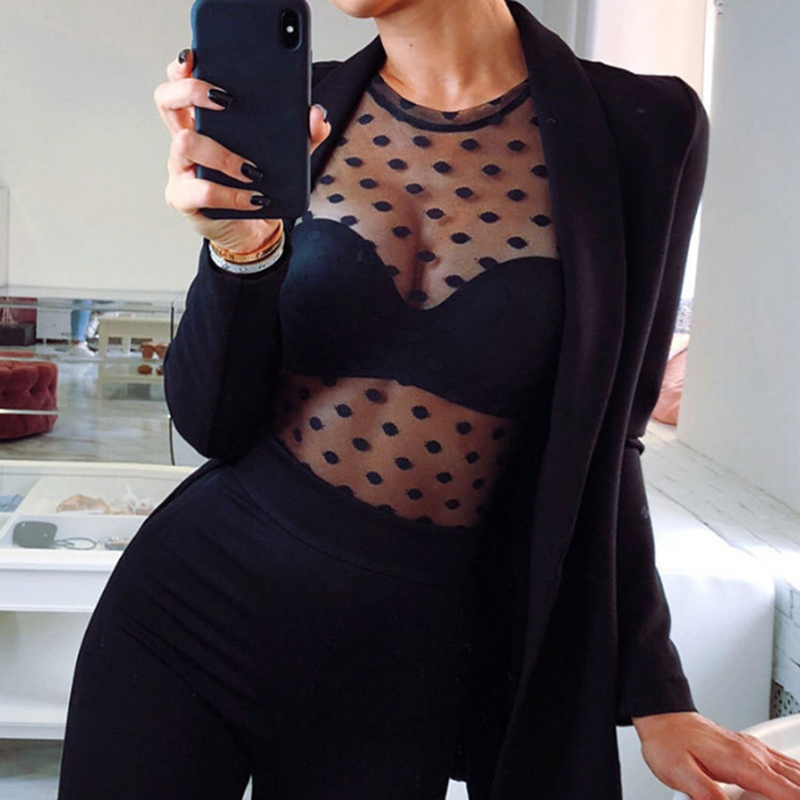 Fashion Women clothes Long Sleeve round neck Tops Casual Loose pullover Sexy Polyester Mesh Sheer T-Shirt one pieces