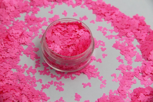 Solvent resistant Neon Pink Color Mickey Mouse shape Glitter ...