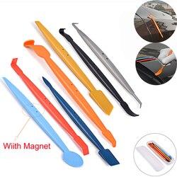 EHDIS 7 piezas de coche magnético escobilla de goma conjunto de pegatinas de coche y calcomanías de película de carbono de imán raspador de tinte de la ventana kit de herramienta
